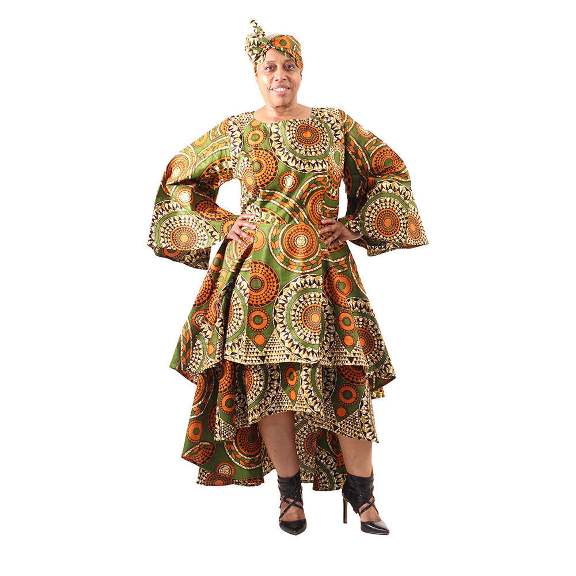 Picture of Tribal Prt Multi-Tiered Dress: Plus-Size