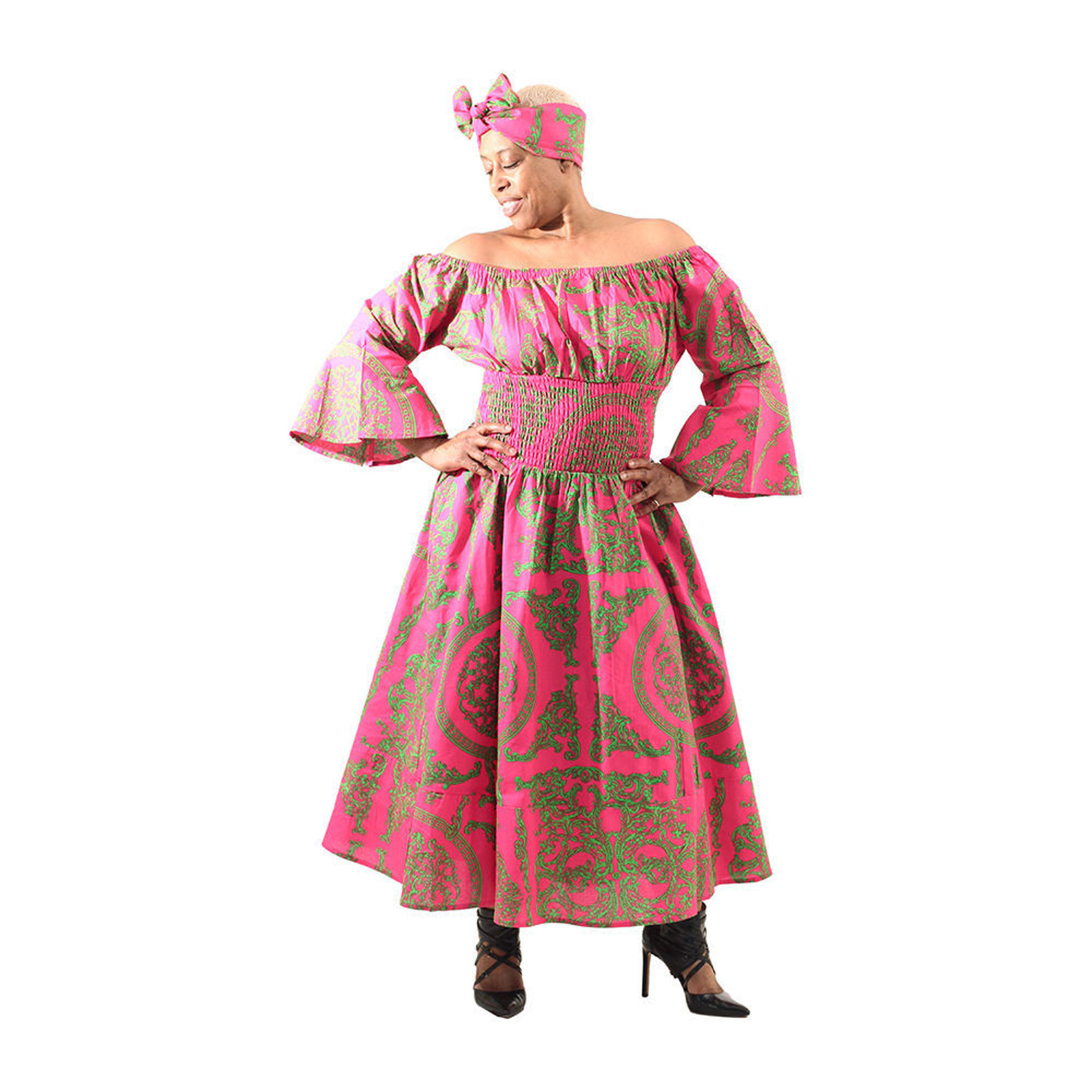 Picture of Pink Royalty Off-The-Shoulder Dress