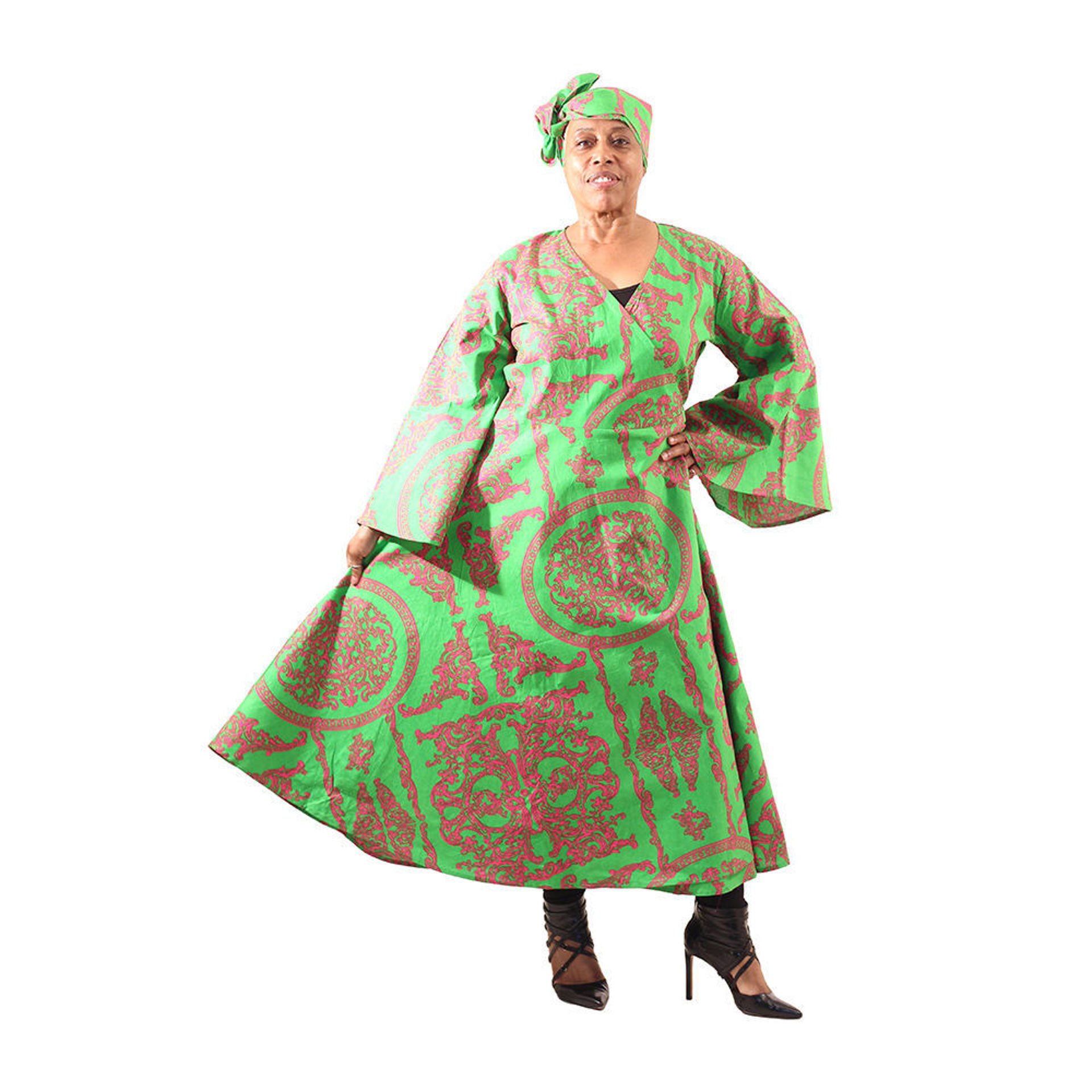 Picture of Royalty Print Wrap Dress: Pink/Green