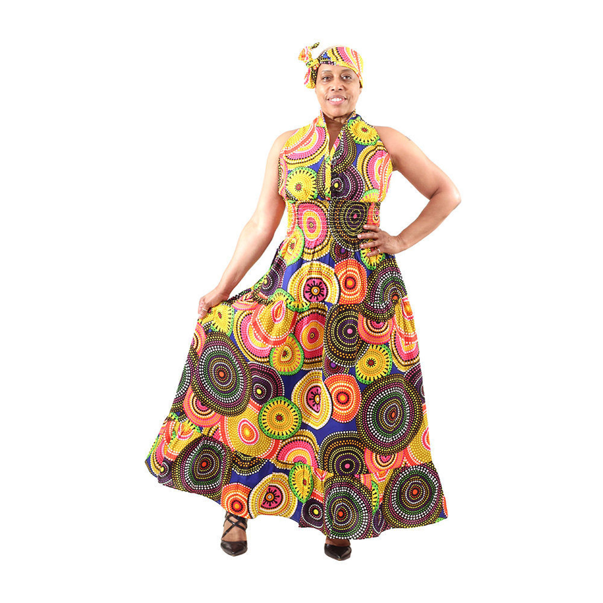 Picture of MultiColor Circle Print Sleeveless Dress