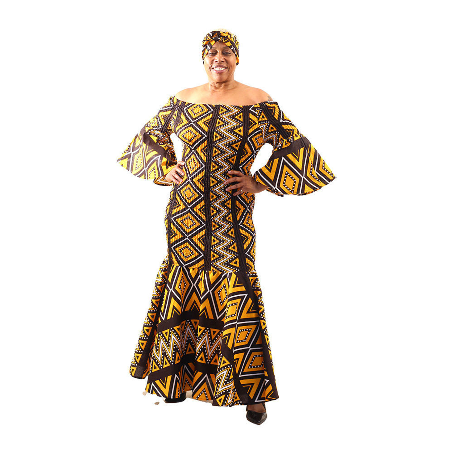 Picture of African Mud Print Smocked Dress