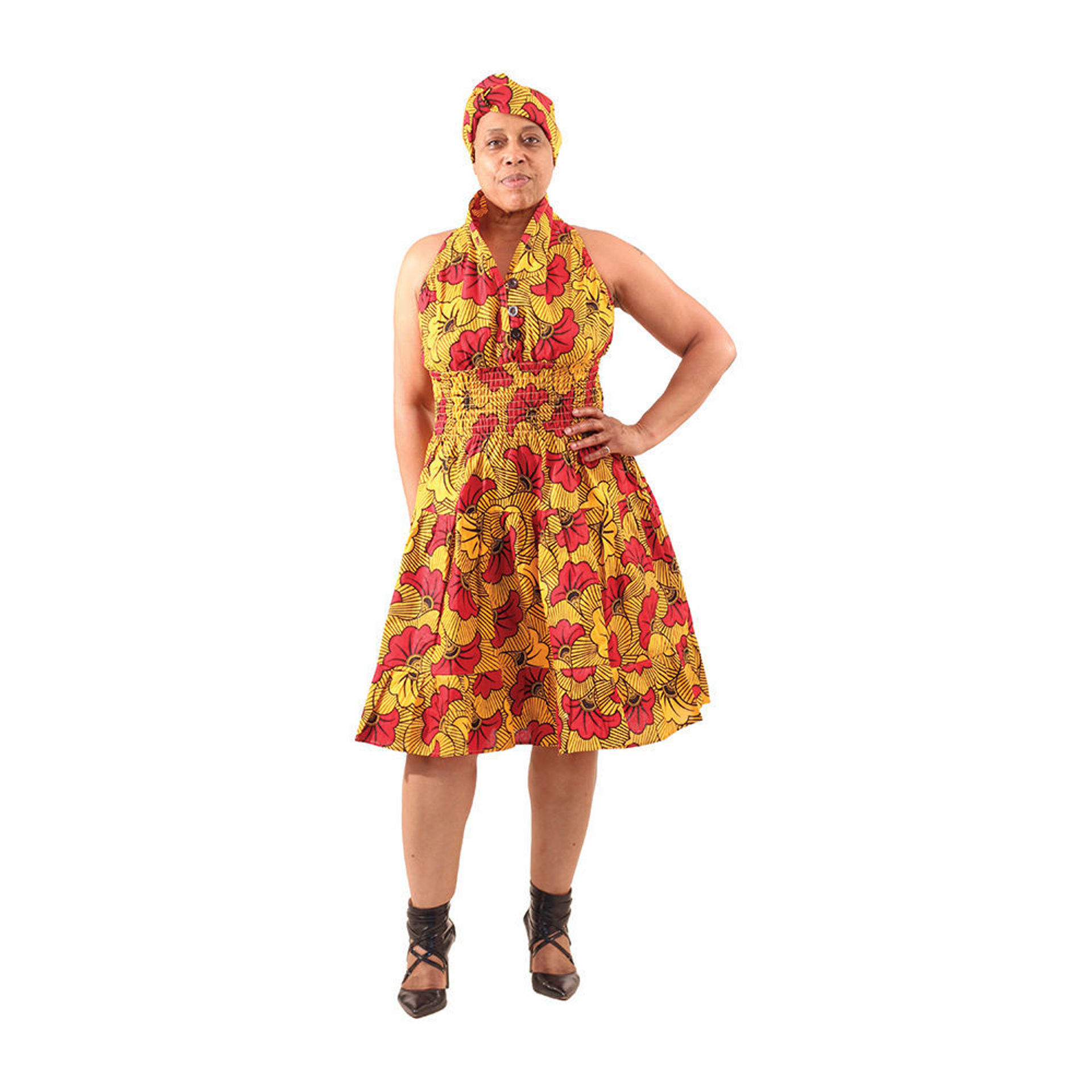 Picture of Orange/Red Flower Print Swing Dress