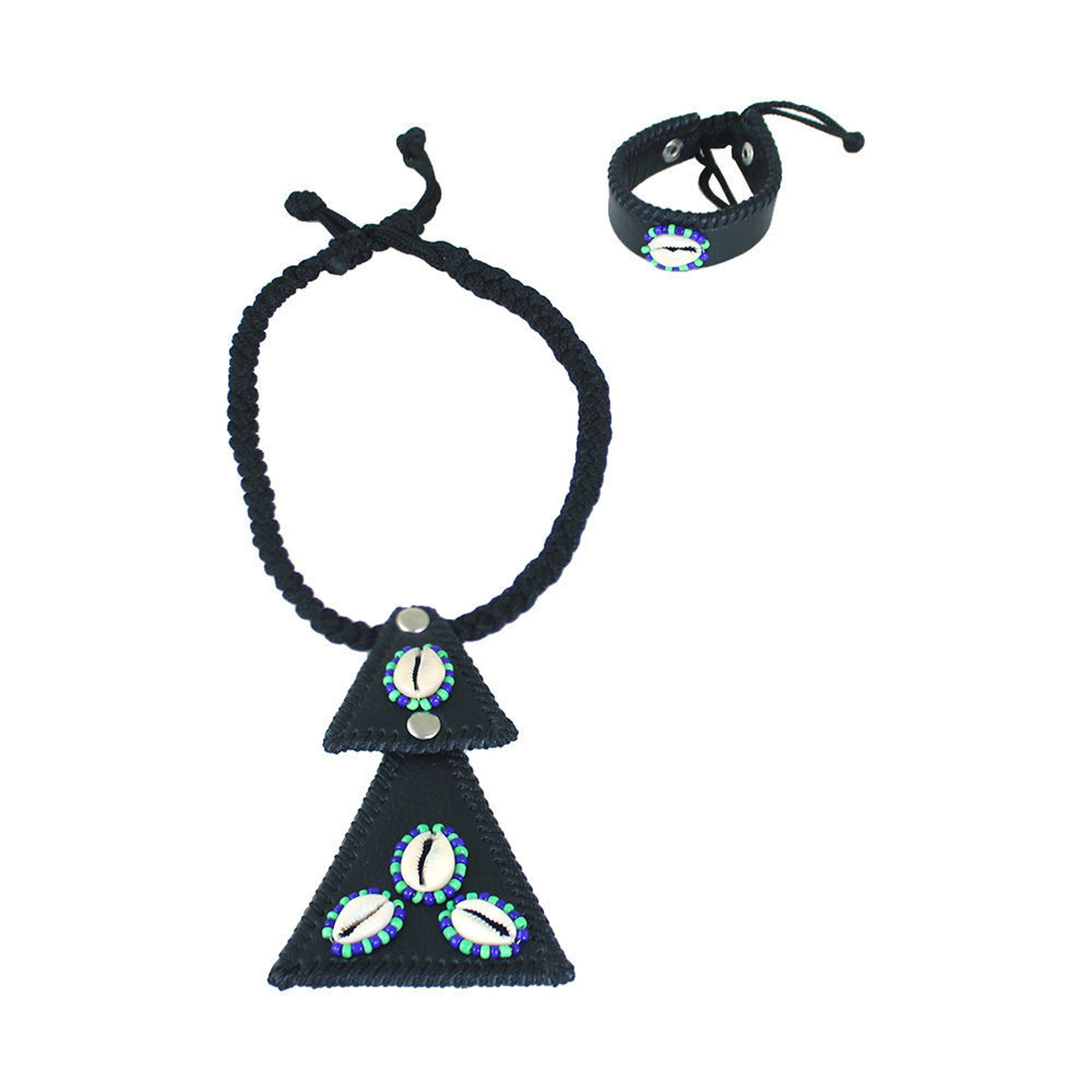 Picture of Black Leather Cowrie Shell Necklace Set
