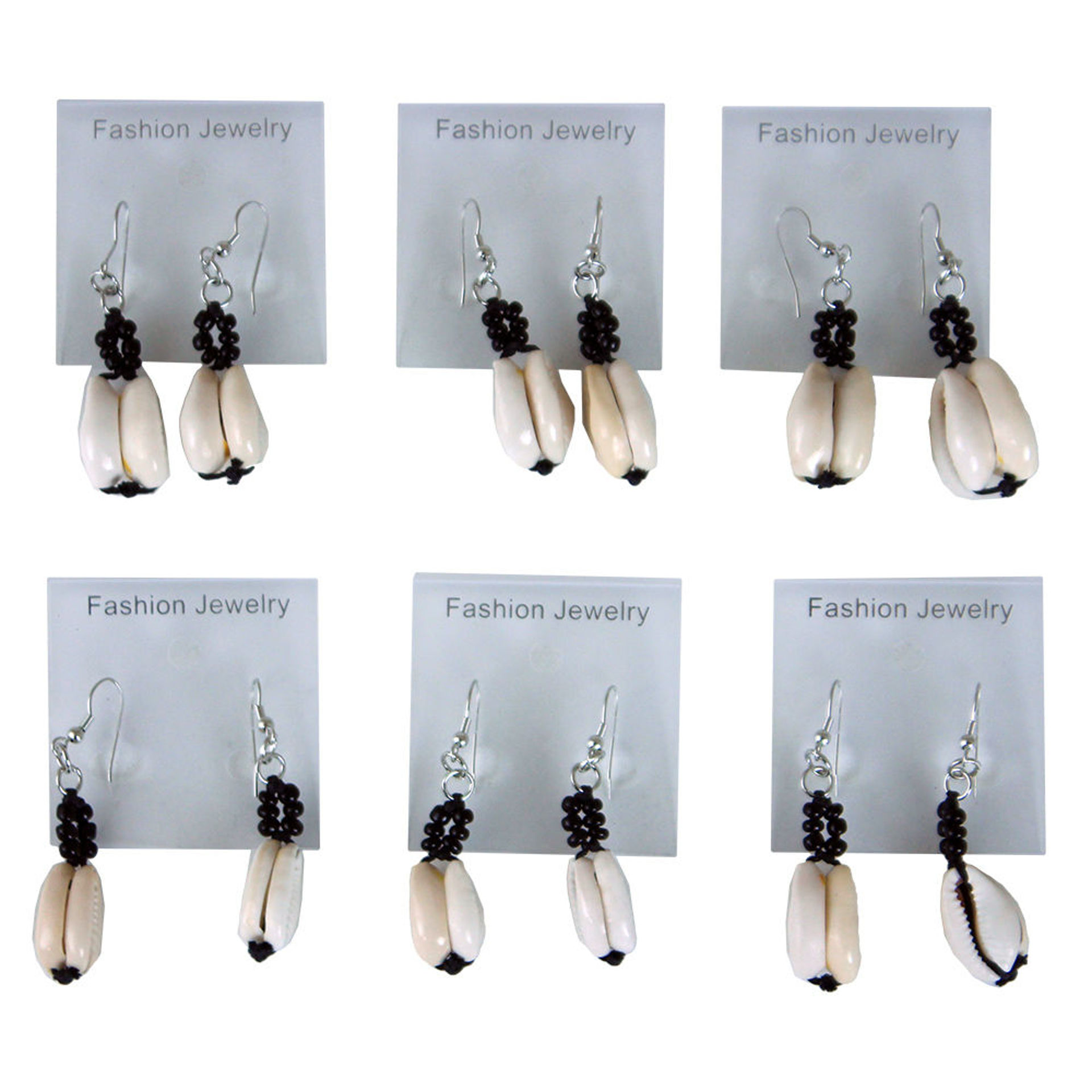Picture of Set Of 6 Double Cowrie Shell Earrings