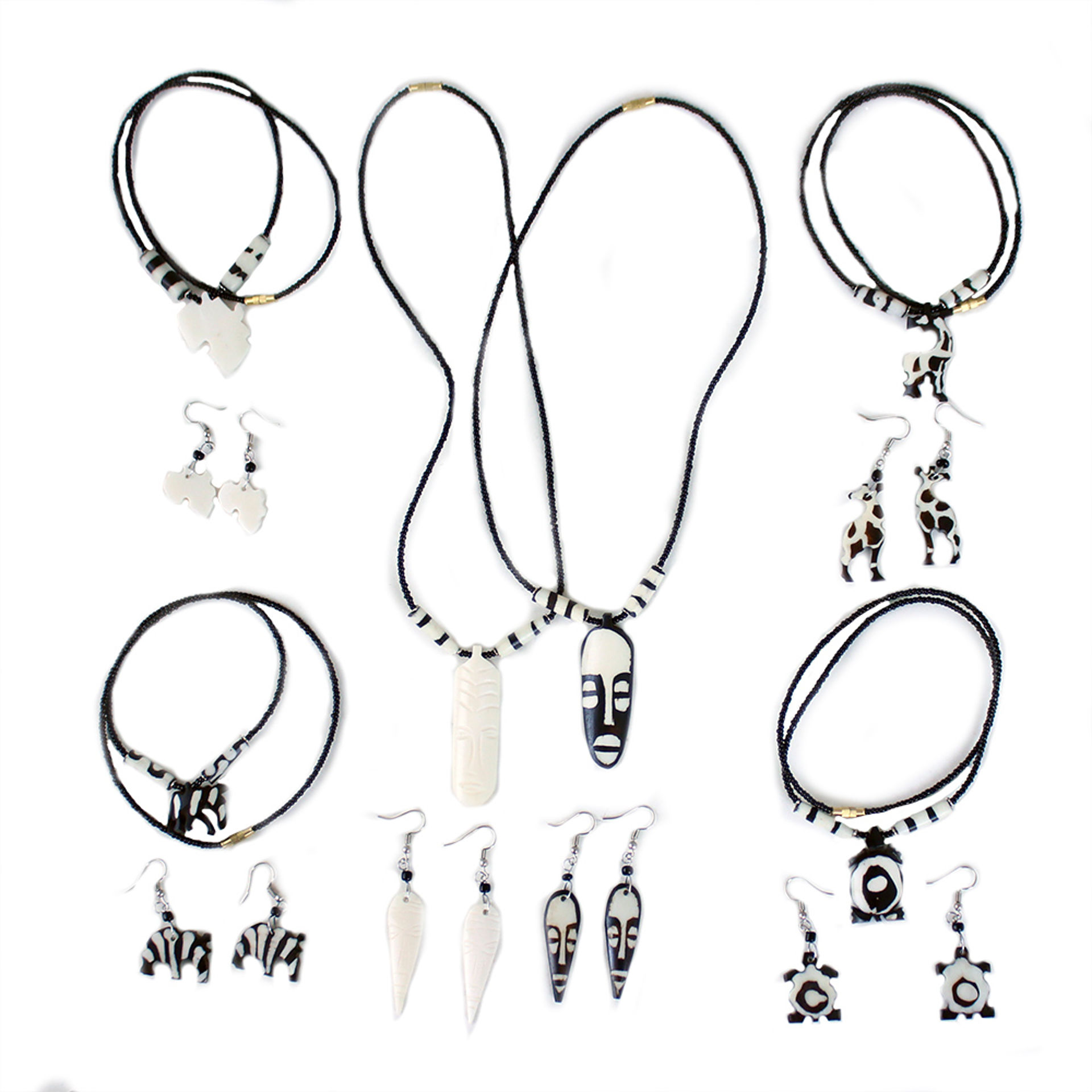 Picture of Set Of 6 Kenyan Bone Necklaces/Earrings