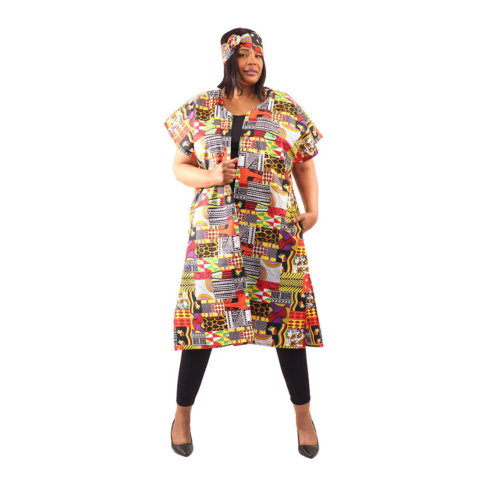 Picture of Patchwork Print Open Kaftan
