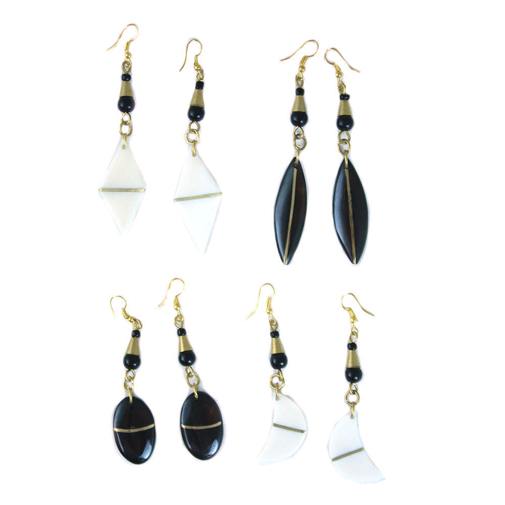 Picture of Set Of 4 Gold Strip Bone & Brass Earring