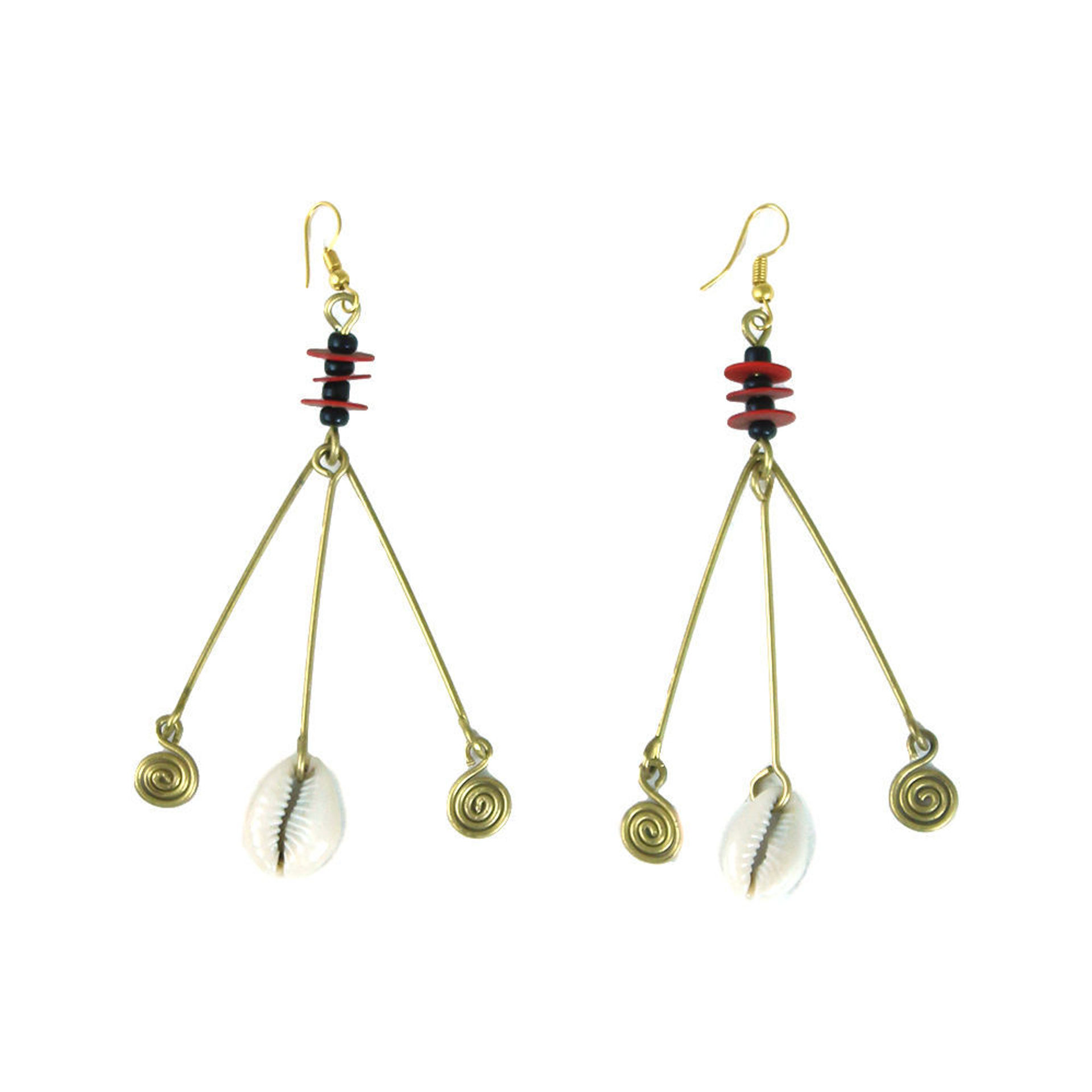 Picture of Red Disk & Shell Dangle Earrings