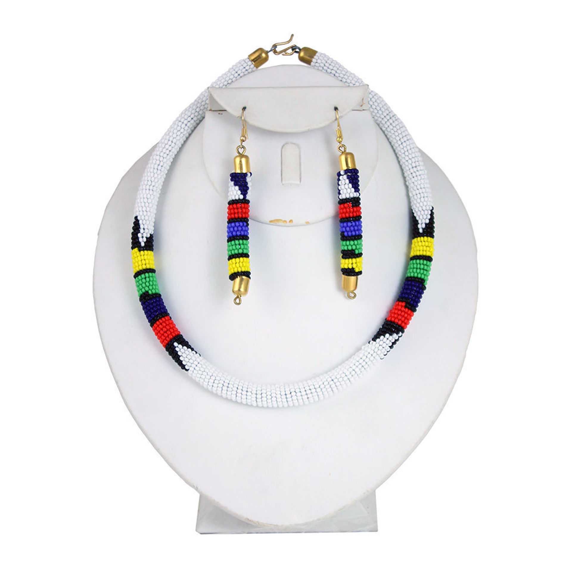 Picture of White Beaded Maasai Necklace Set
