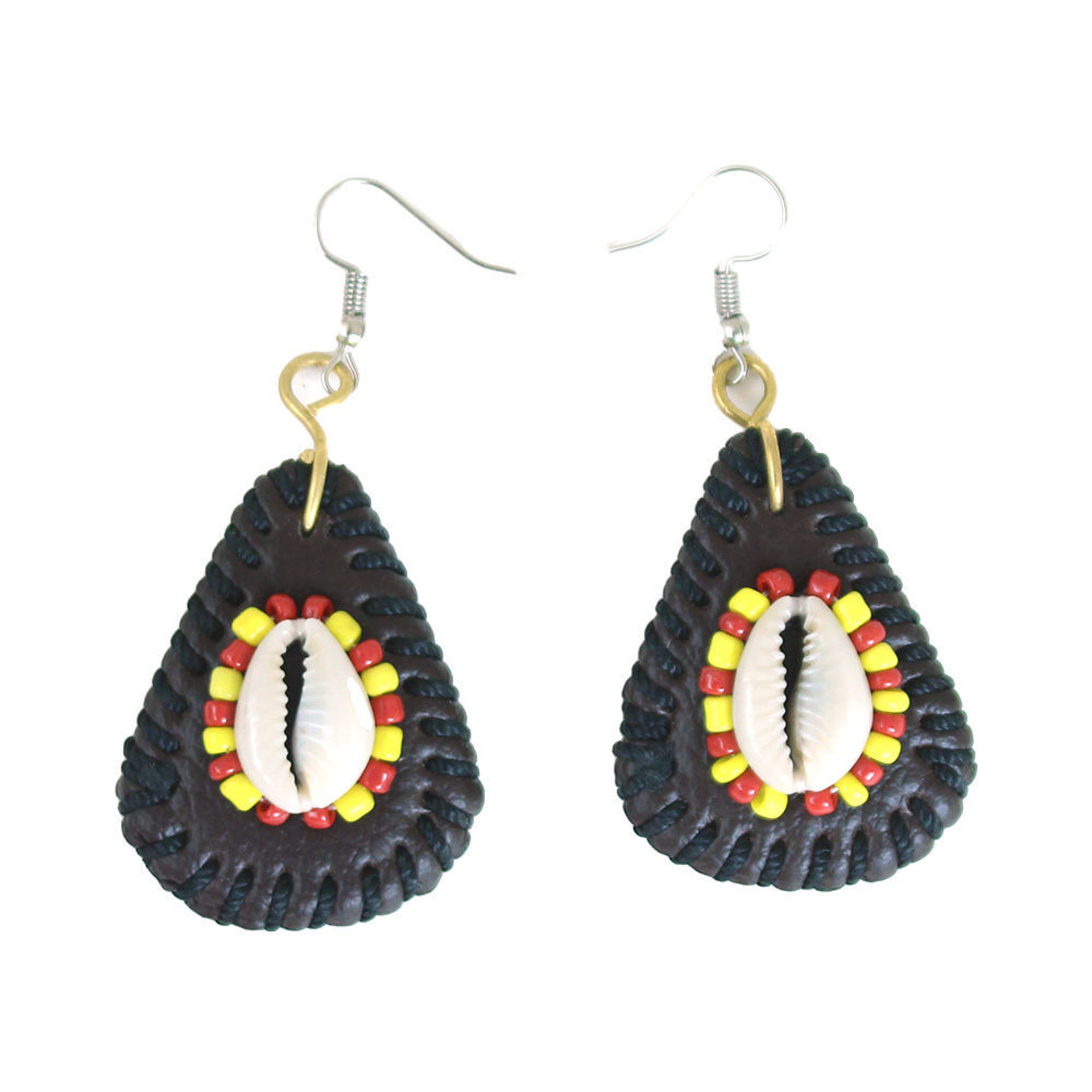 Picture of Kenyan Leather Cowrie Shell Earrings