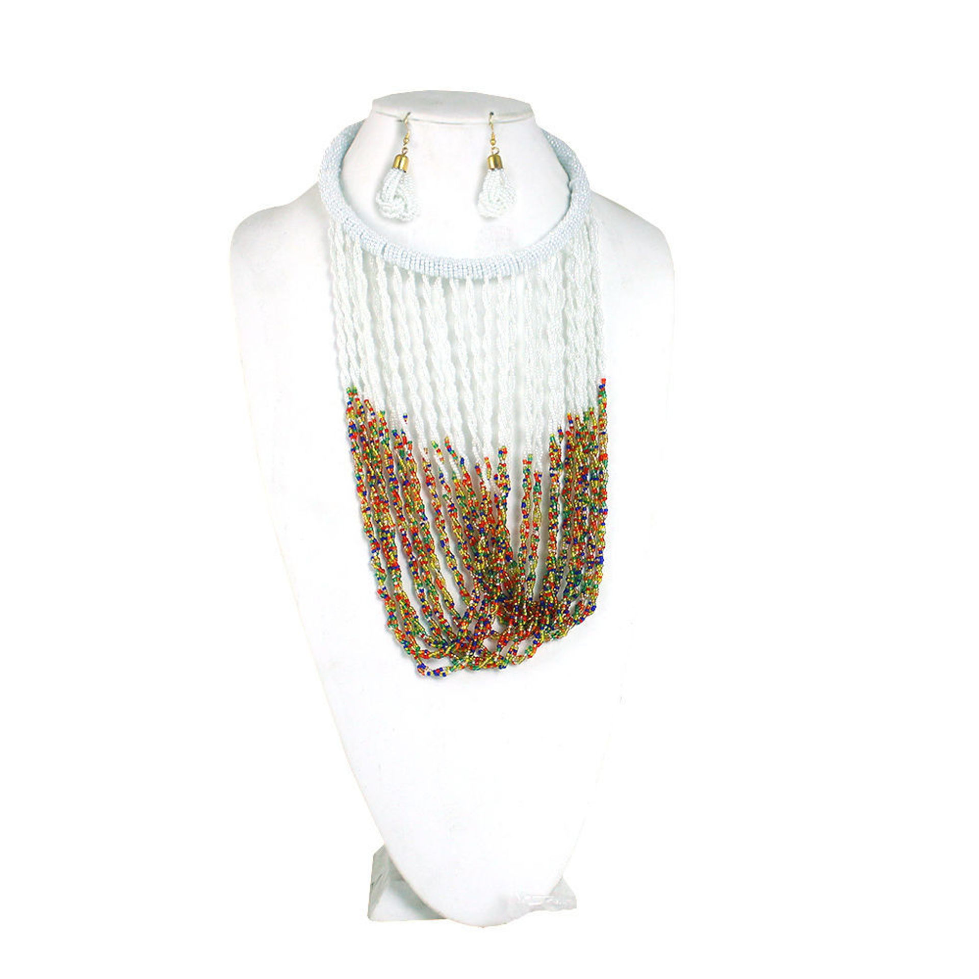 Picture of White Multi-Strand Kenyan Necklace Set