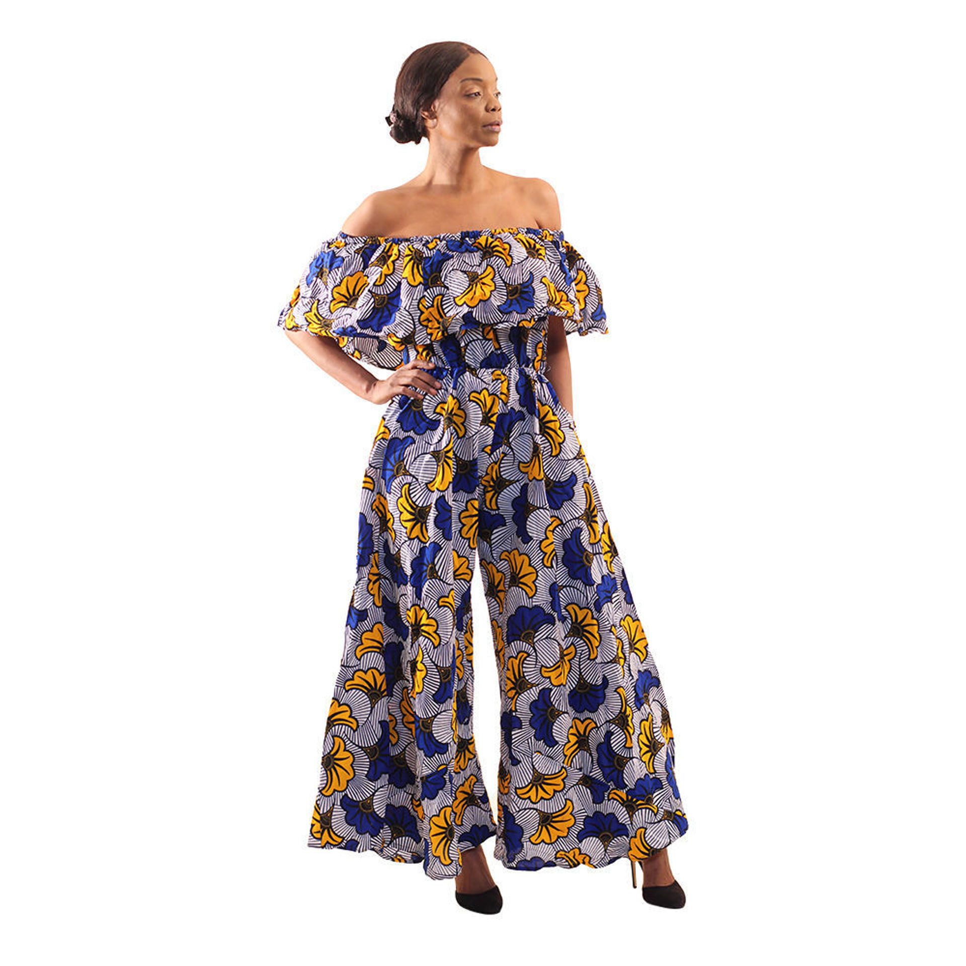 Picture of Blue/Yellow Floral Off-Shoulder Jumpsuit